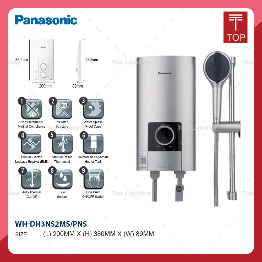 Panasonic DH-3NS1/DH-3NS2 White/silver Non Pump Instant Water Heater