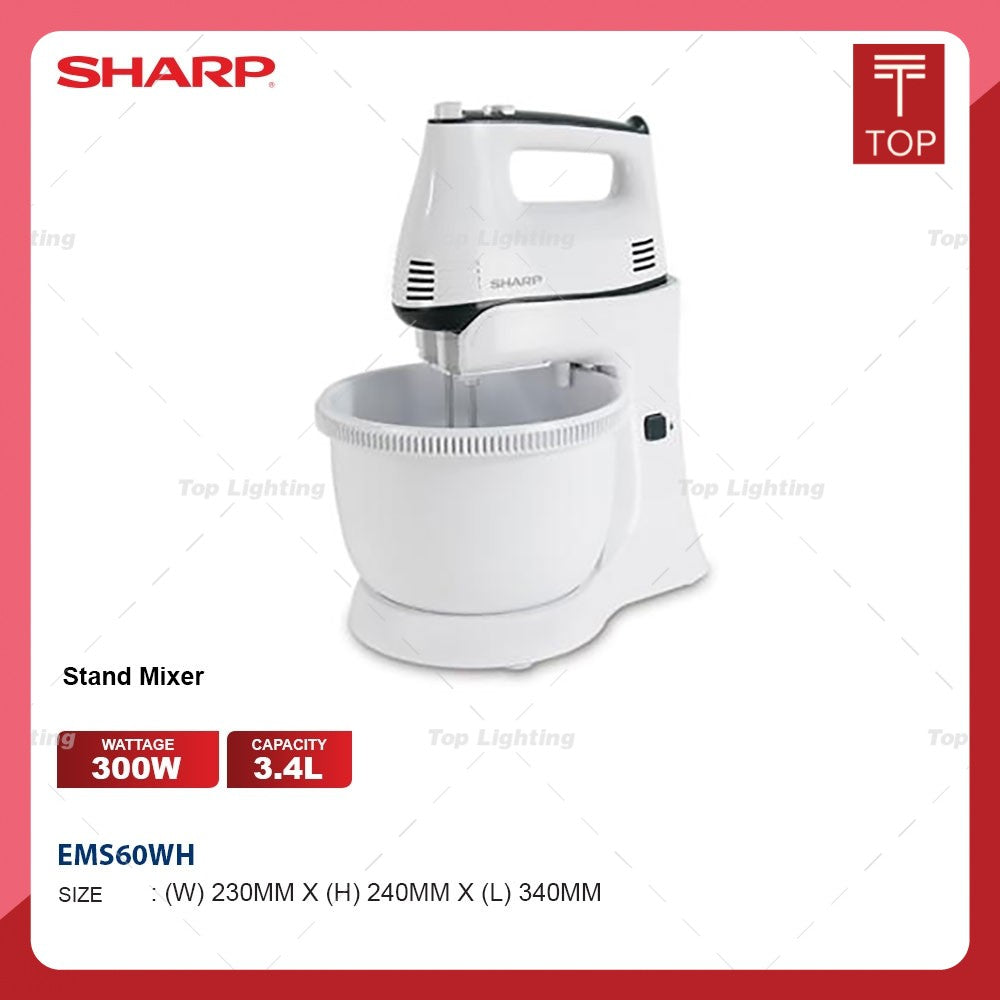 Sharp EMS60WH 300W 3.4L Electric Stand Mixer