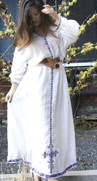 White Long Sleeved Traditional Ethiopian Dress With Blue