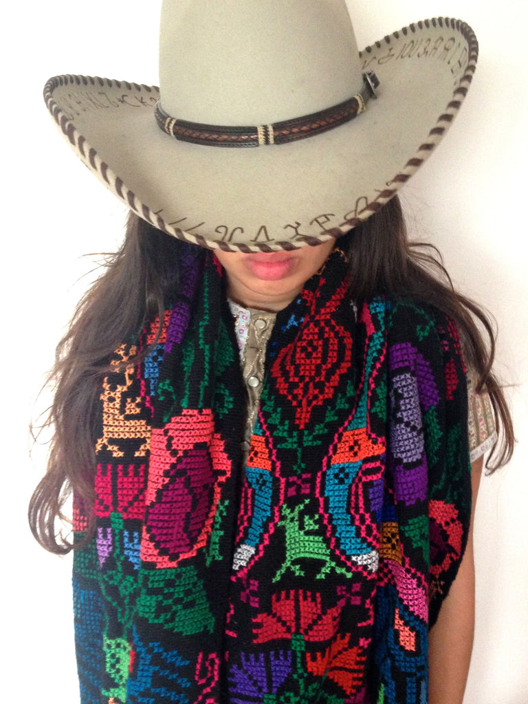 Multicolored embroidered woolen shawl