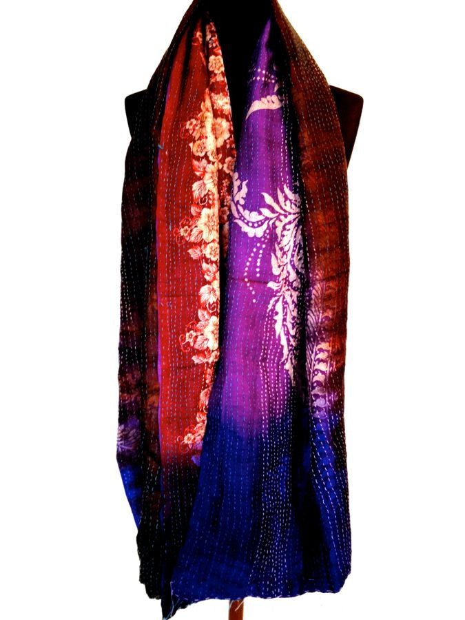 Purple Blue Burgundy Sari Vintage Scarf