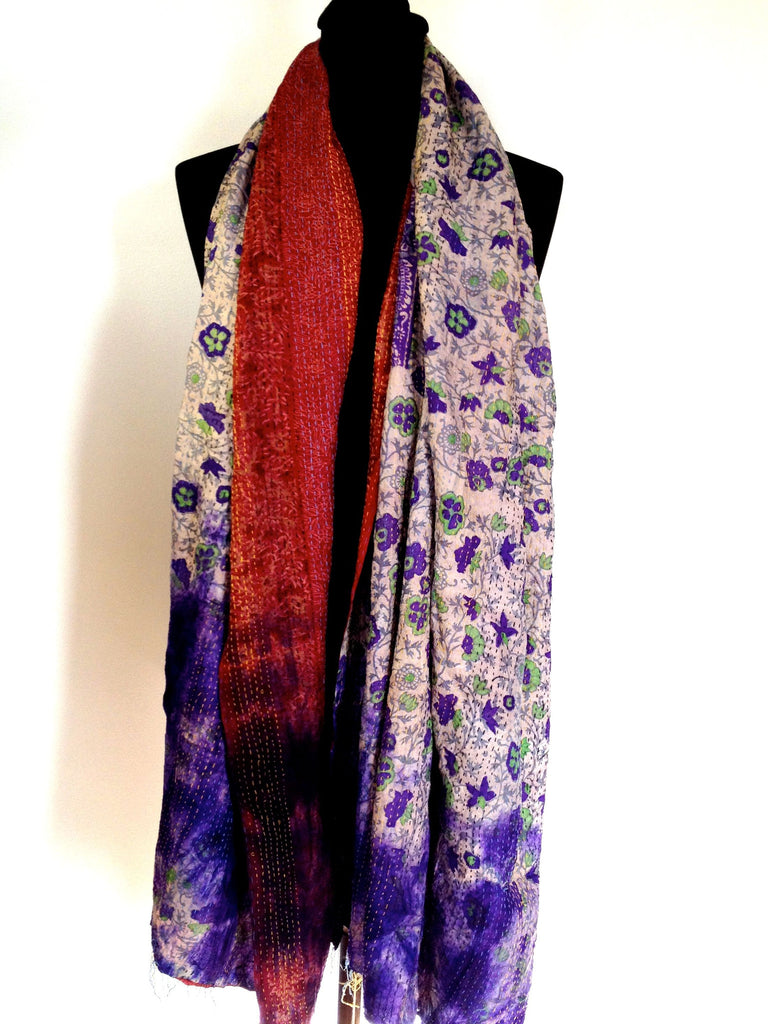 Purple/Red/Green Flower Sari Vintage Scarf