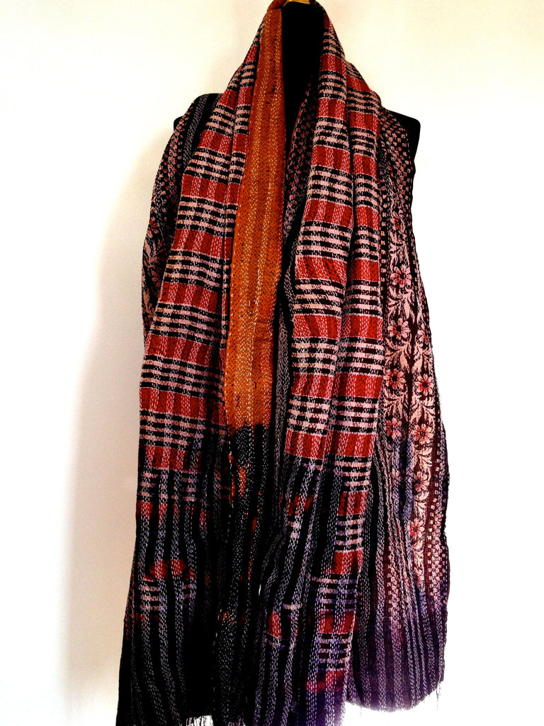 Orange/Brown Sari Vintage Scarf
