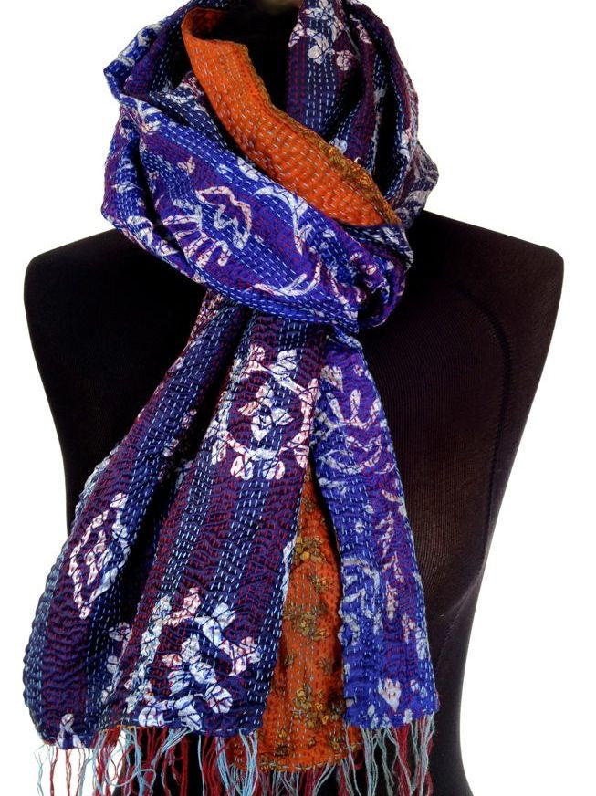 Blue  Orange Sari Vintage Scarf