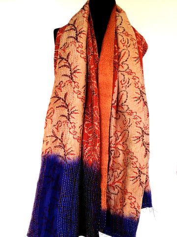 Red /Orange/Ofwhite/Blue  Sari Vintage Scarf