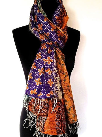 Purple  Orange Sari Vintage Scarf