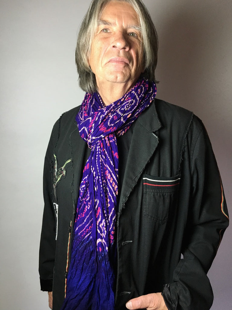 Purple Jaipur Tie-dye Silk scarf on Connan Jean Luc