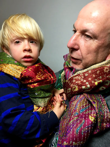 Green/red Sari Vintage Scarf on Benny&Ethan