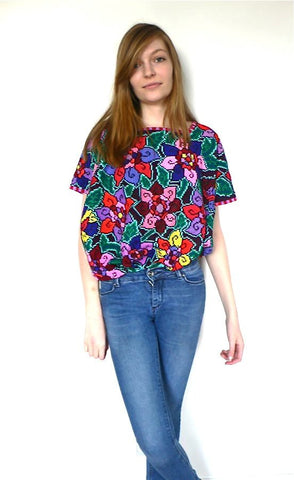 Pink Red Blue Multicolored cross stitch blouse top