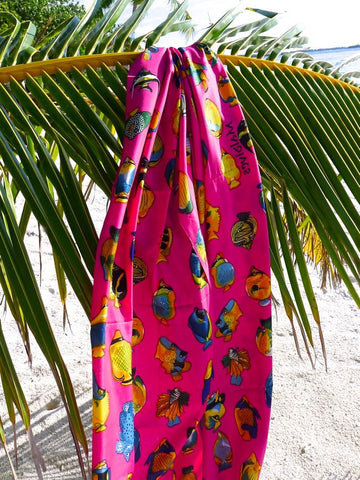 Pink Sarong with multicolor fish print from Maldive Islands