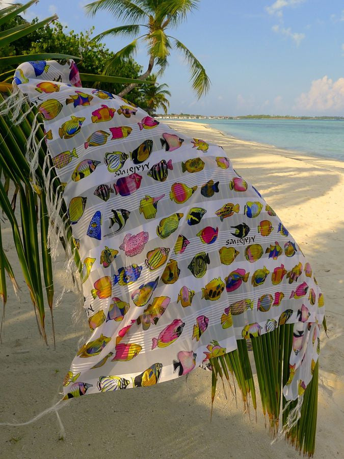 White Sarong with multicolor fish print from Maldive Islands