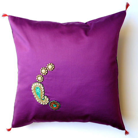 Purple/Swarovski elements cushion