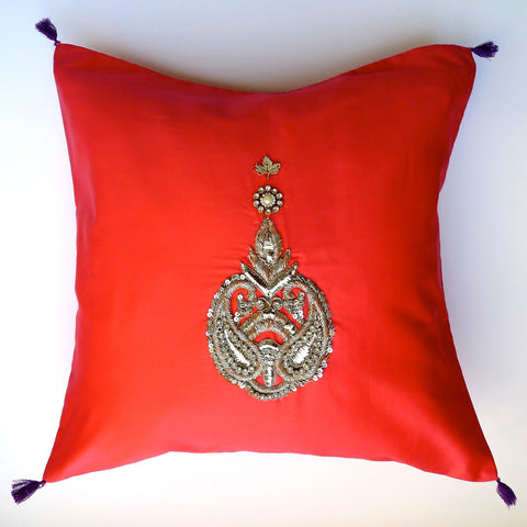 Red /Swarovski elements cushion