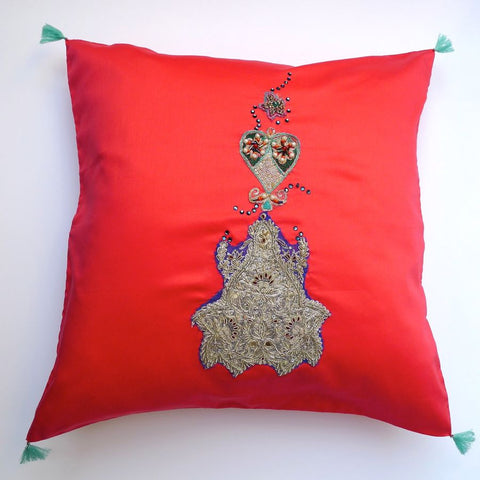 Red/Swarovski elements cushion