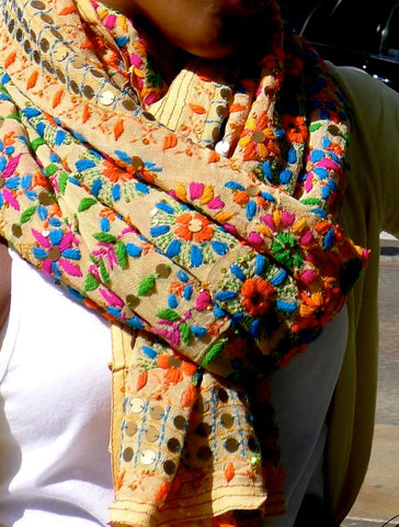 Yellow,Orange,green.. scarf with Traditional Indian embroidery
