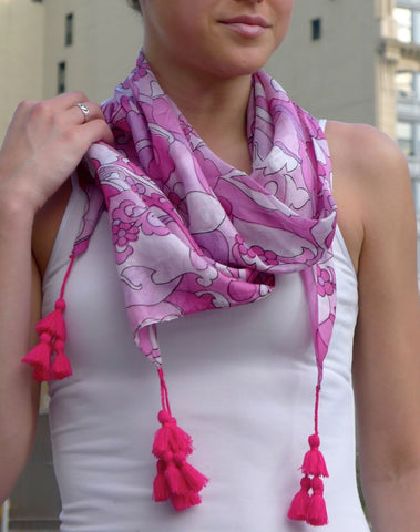 Pink silk scarf with Tassels