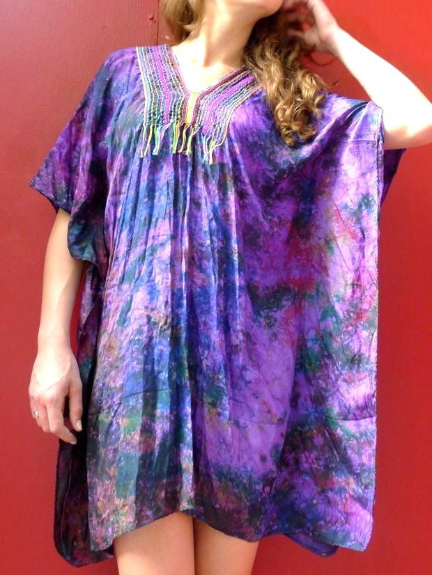 Kaftan style tunic dress with hand embroidery