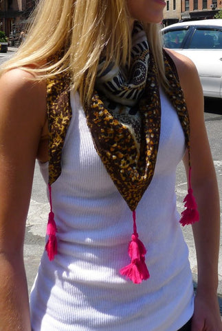 Brown Silk Scarf with Tassels