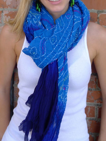 Blue Jaipur Tie-dye Silk scarf on Connan Jean Luc