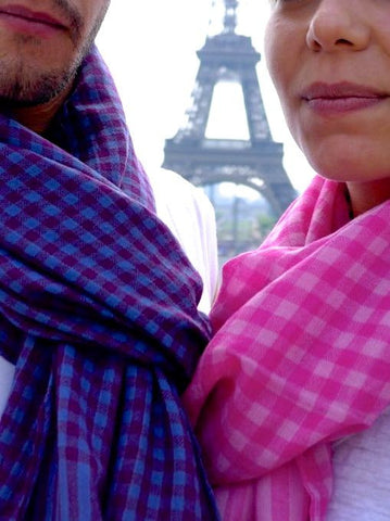 Pink Vichy check cashmere scarf