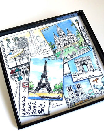 Paris postcards tea tray