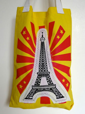 Yellow or black Eiffel tower cotton bags