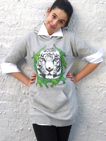 Grey sweatshirt with Eiffel tower and tiger print