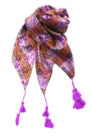 Purple/Pink Silk Scarf with Tassels