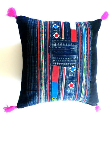 Blue Vintage Patchwork Cushion