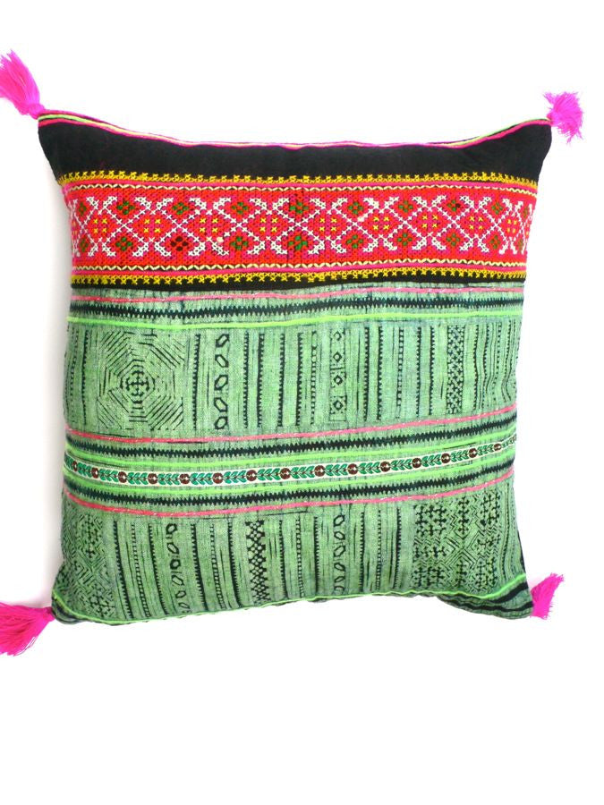 Green Vintage Patchwork Cushion