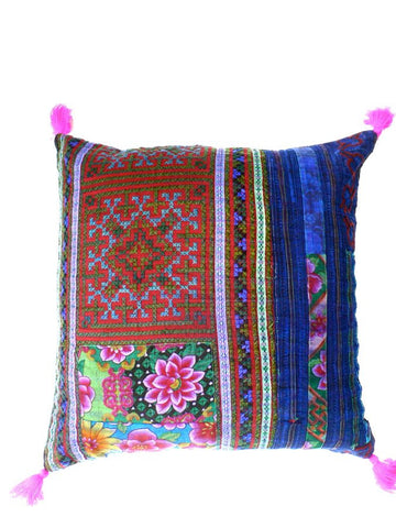 Blue indigo Vintage Patchwork Cushion