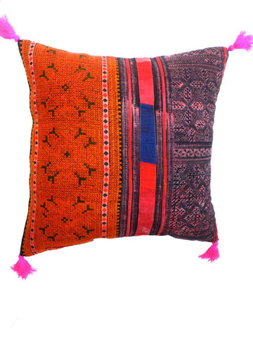 Red /Orange Vintage Patchwork Cushion