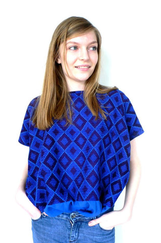 Blue/Purple cross stitch blouse top