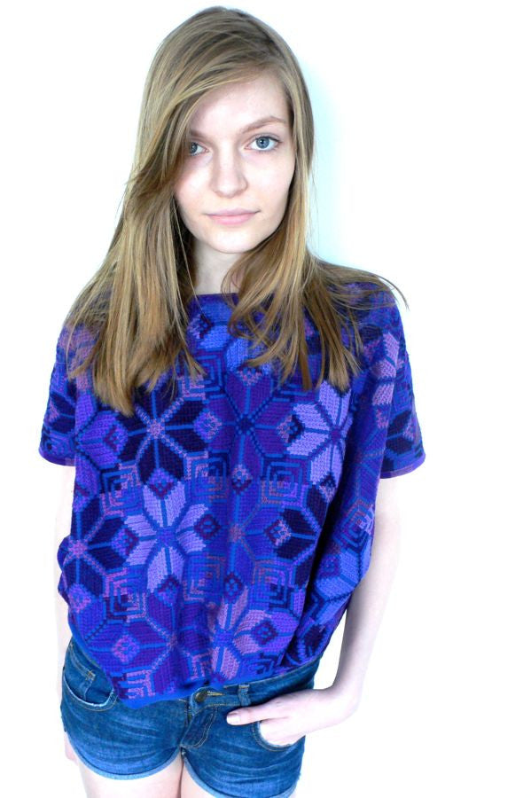 Purple cross stitch blouse top