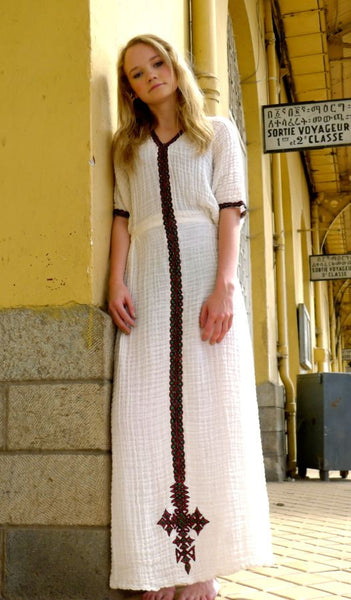 White Traditional Ethiopian Dress With Green Red And Gold