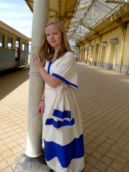White Traditional Ethiopian Dress With Blue Pink Green