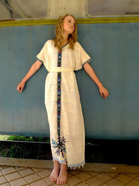 White Traditional Ethiopian Dress With Multicolored