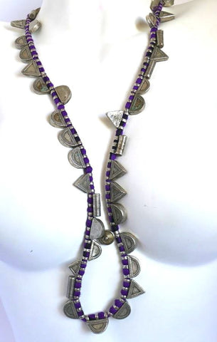 Purple and silver long pendant necklace