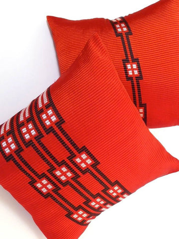 Red, Ethiopian handwoven cushion