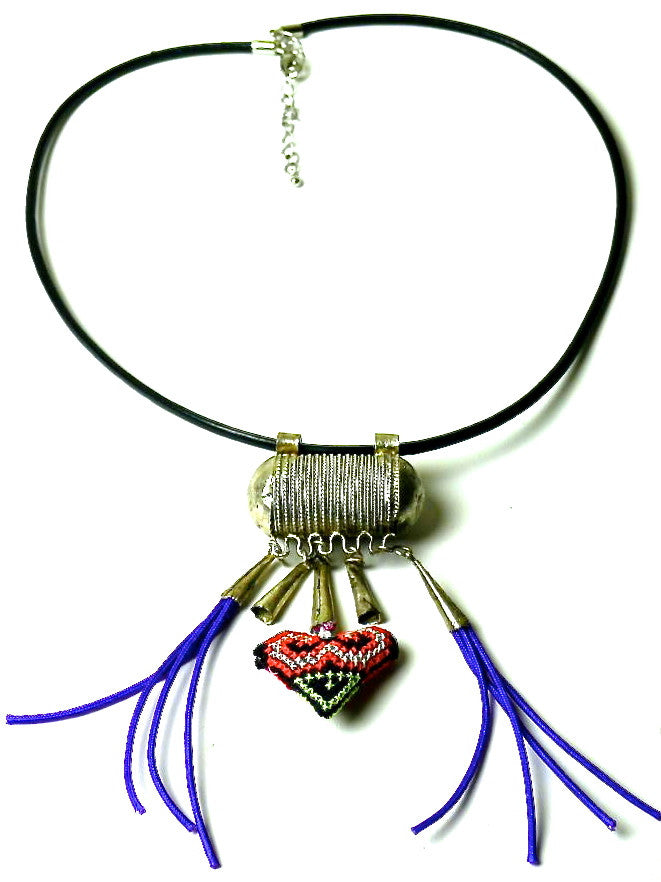 Ethiopian metal trinket necklace with embroidered heart
