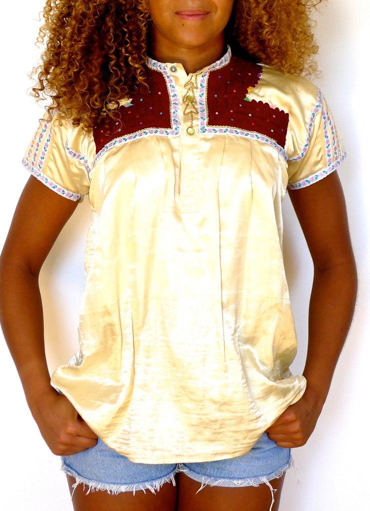 Traditional vintage Yellow satin blouse