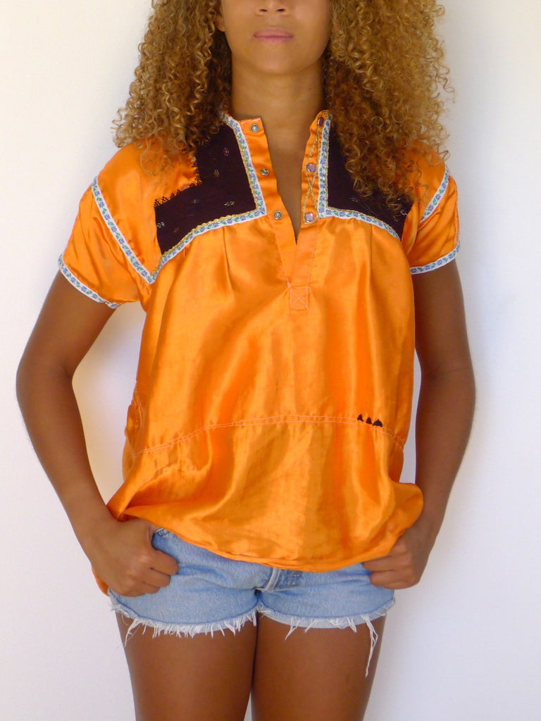 Traditional vintage Orange satin blouse