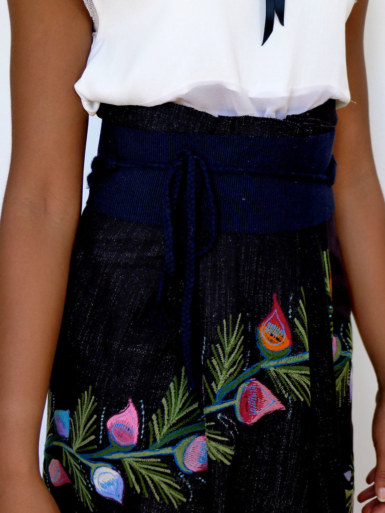 Black floral embroidered skirt from Zinacantan Mexico