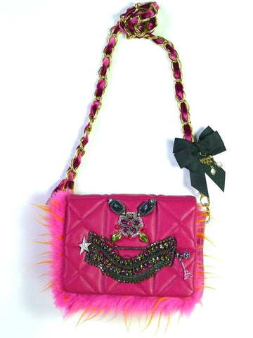 Raspberry pink embellished chain handbag
