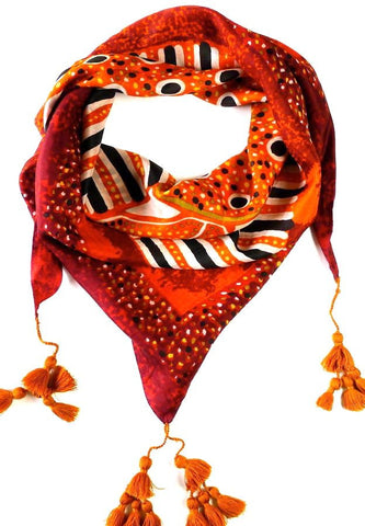 Orange Silk Scarf with Tassels