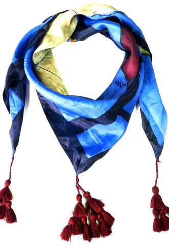 Blue  silk scarf with Tassels