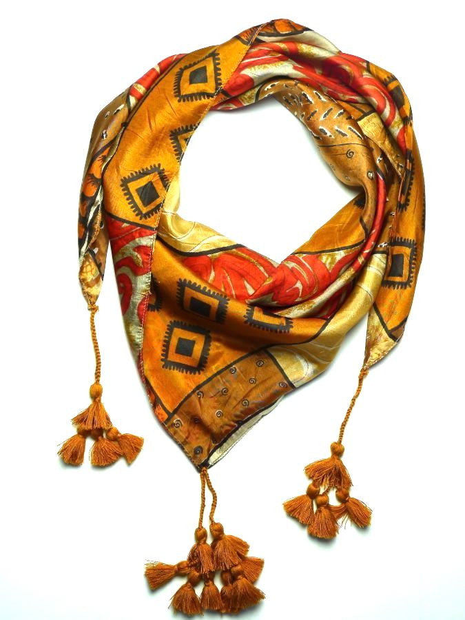 Gold Silk Scarf with Tassels