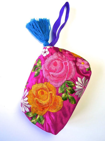 Pink Floral embroidered purse