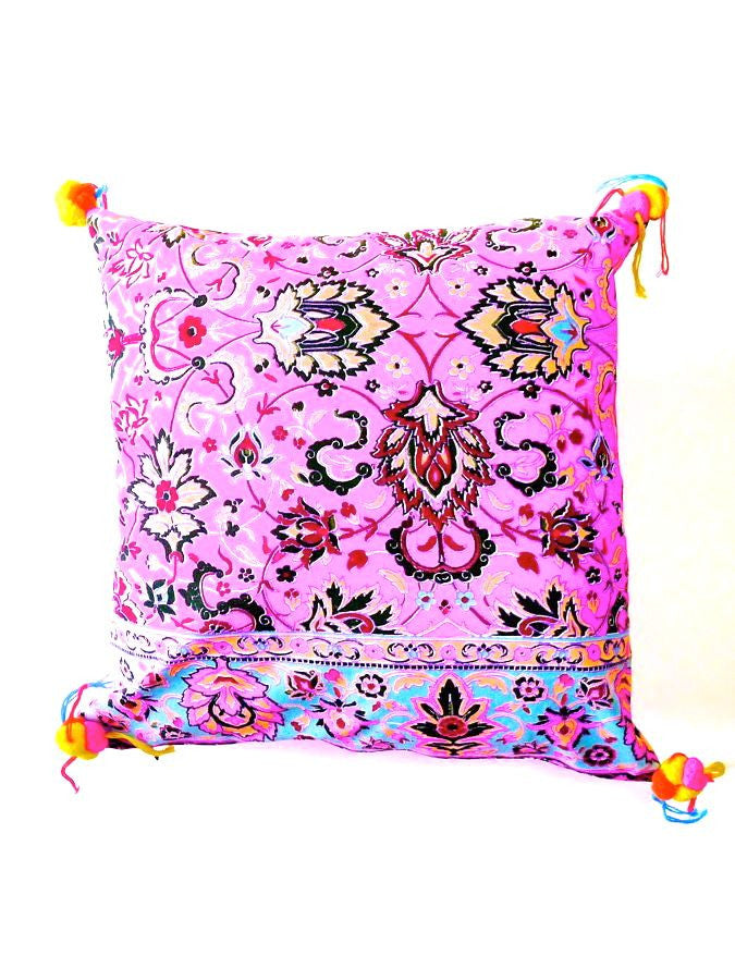 Floral embellished cushion