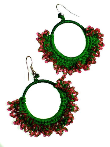 Pink and Green crochet earrings